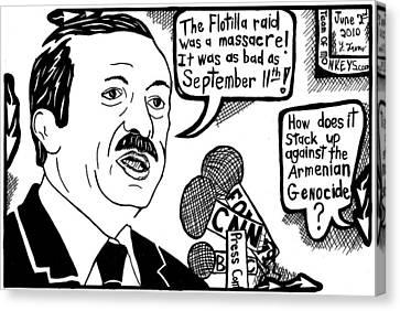 Political Cartoon On Erdogan Canvas Print by Yonatan Frimer Maze Artist