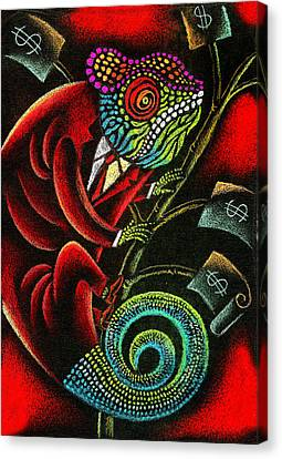 Inner Self Canvas Print - Political Chameleon by Leon Zernitsky