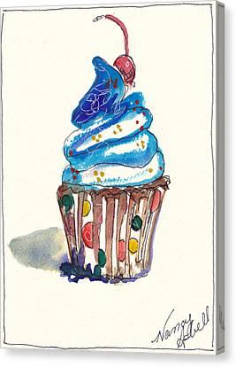 Polka Dot Cupcake Canvas Print