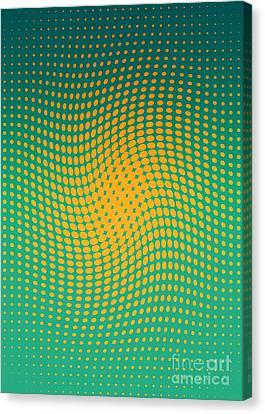 Polka Dots With A Twist Orange And Green Op-art Canvas Print by Heidi De Leeuw