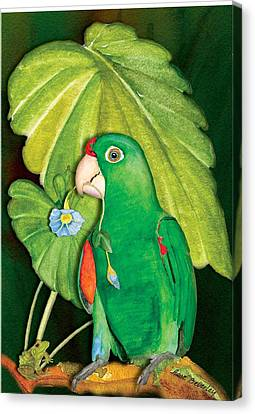 Canvas Print featuring the painting Polly Wants A Flower by Anne Beverley-Stamps