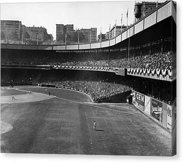 Polo Grounds, During The First Game Canvas Print by Everett