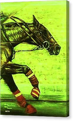 Polo Painting Breakaway Greenish Yellow Canvas Print