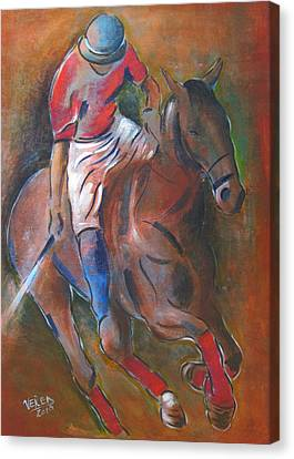 Polo Player Canvas Print by Vered Thalmeier