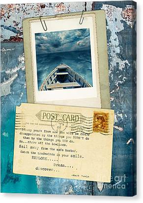 Poloroid Of Boat With Inspirational Quote Canvas Print by Jill Battaglia