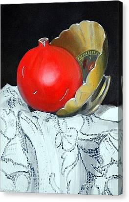 Pomegranate And Pot Canvas Print by Kostas Koutsoukanidis