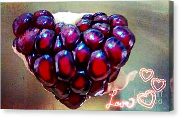 Canvas Print featuring the digital art Pomegranate Heart by Genevieve Esson
