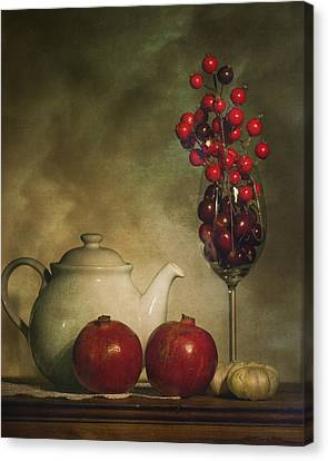 Pomegranates And Tea Pot Canvas Print by Levin Rodriguez