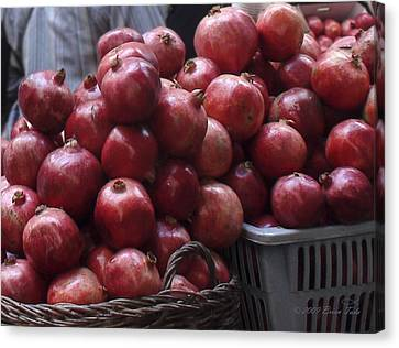 Pomegranates At Jerusalem's Old City Market Canvas Print by Brian Tada