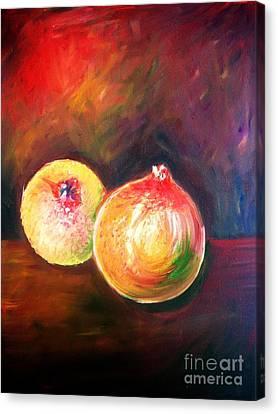 Pomegranates From My Garden Canvas Print by Anastasis  Anastasi