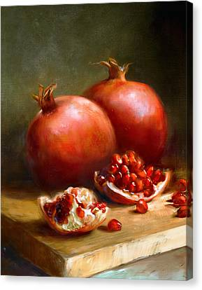 Still Life Canvas Print - Pomegranates by Robert Papp