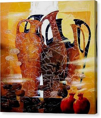 Pomegranates Canvas Print by Yelena Revis