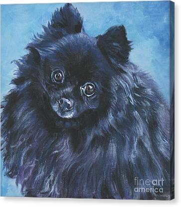 Pomeranian Black Canvas Print by Lee Ann Shepard