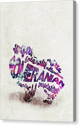 Canvas Print featuring the painting Pomeranian Dog Watercolor Painting / Typographic Art by Inspirowl Design