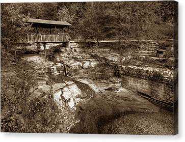 Ponca Arkansas Covered Bridge In Sepia Canvas Print