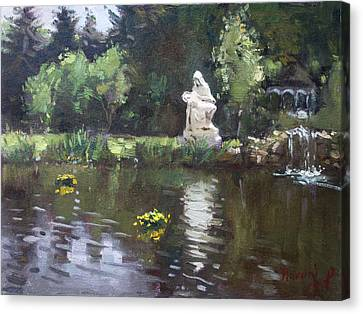 Pond At Our Lady Of Fatima Lewiston Canvas Print by Ylli Haruni