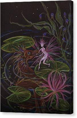 Canvas Print featuring the drawing Pond Dragon by Dawn Fairies