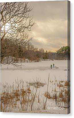 Pond Hockey Canvas Print - Pond Hockey At Durand by Ken Marsh