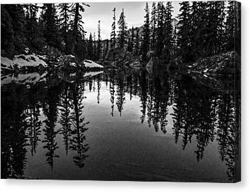 Pond On The Pacific Crest Trail Black And White Canvas Print