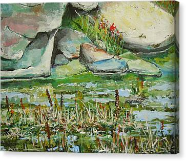 Canvas Print featuring the painting Pond Shadows And Reflections by Dan Whittemore