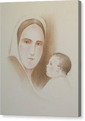 Canvas Print featuring the pastel Pondering In Her Heart by Michele Myers