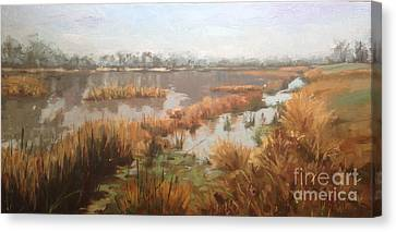 Pondering On A Pond Canvas Print by Nancy  Parsons