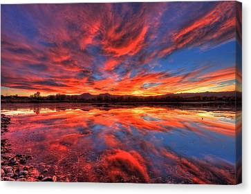 Ponds Of Fiery Canvas Print