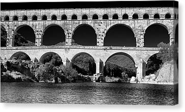 Canvas Print featuring the photograph Pont Du Gard Panorama by Richard Goodrich