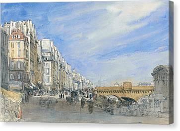 Pont Neuf From The Quai De L'ecole, Paris Canvas Print by David Cox