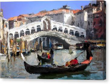 Ponte Di Rialto, Venezia Canvas Print by Giuseppe Cesa Bianchi