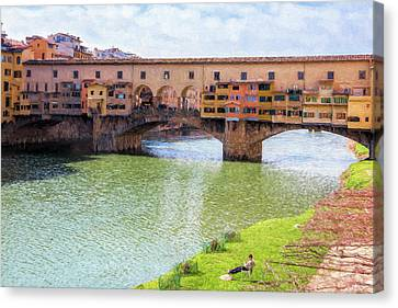 Italian Landscapes Canvas Print - Ponte Vecchio Florence Italy II Painterly by Joan Carroll