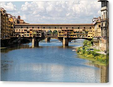 Ponte Vecchio In Florence, Italy Canvas Print by Geoffrey Whiteway