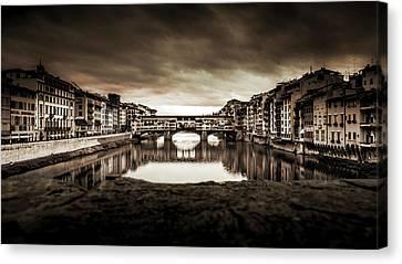 Ponte Vecchio In Sepia Canvas Print
