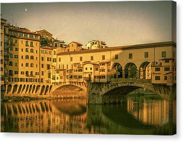 Canvas Print featuring the photograph Ponte Vecchio Morning Florence Italy by Joan Carroll