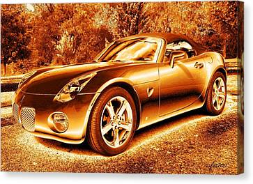 Canvas Print featuring the digital art Pontiac Solstice Gxp In Gold by Maciek Froncisz