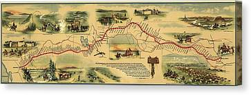Pioneers Canvas Print - Pony Express Route April 1860 - October by Everett