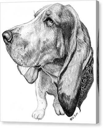 Canvas Print featuring the drawing Pooch by Mike Ivey