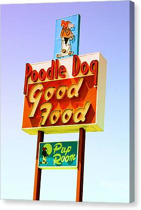 Poodle Dog Diner Canvas Print by Kathleen Grace