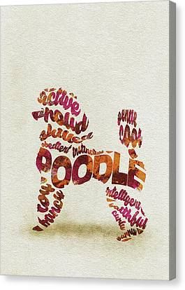Canvas Print featuring the painting Poodle Dog Watercolor Painting / Typographic Art by Inspirowl Design