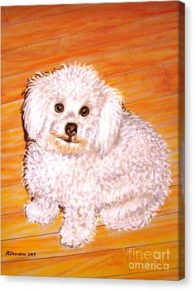 Canvas Print featuring the painting Poodle by Patricia L Davidson