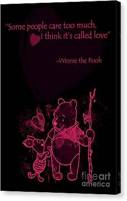 Pooh - Cute Love Quote - Pink Black Canvas Print