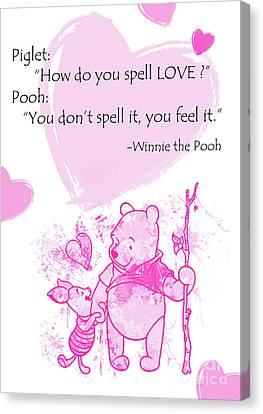Pooh - Cute Love Quote - Pink Canvas Print