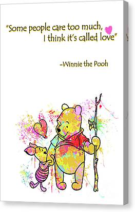 Pooh - Cute Love Quotes Canvas Print