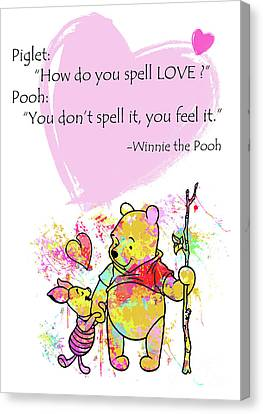 Pooh -  Spell Love... Canvas Print