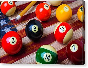 Pool Ball On American Flag Canvas Print by Garry Gay