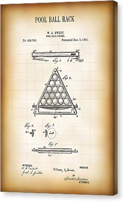 Pool Ball Rack Patent 1891 Canvas Print