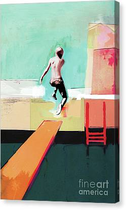 Diving Board Canvas Print - Pool Day by David McConochie