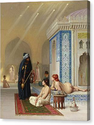 Pool In A Harem Canvas Print by Jean Leon Gerome