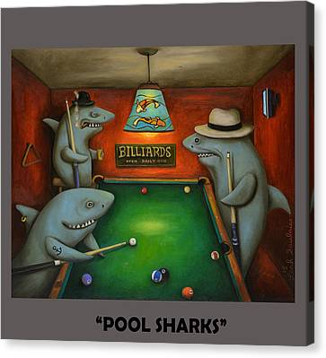 Pool Sharks With Lettering Canvas Print