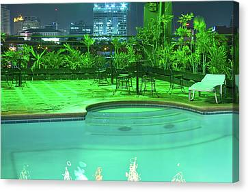 Pool With City Lights Canvas Print by James BO  Insogna